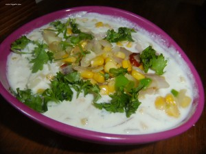 SWEET CORN AND ONION RAITA