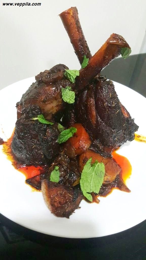 Baked Mutton Shanks in Red wine